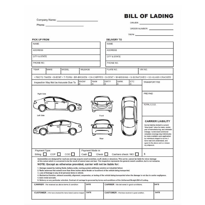 How Much Does It Cost To Ship A Car >> The Auto Transport Bill of Lading | National Express