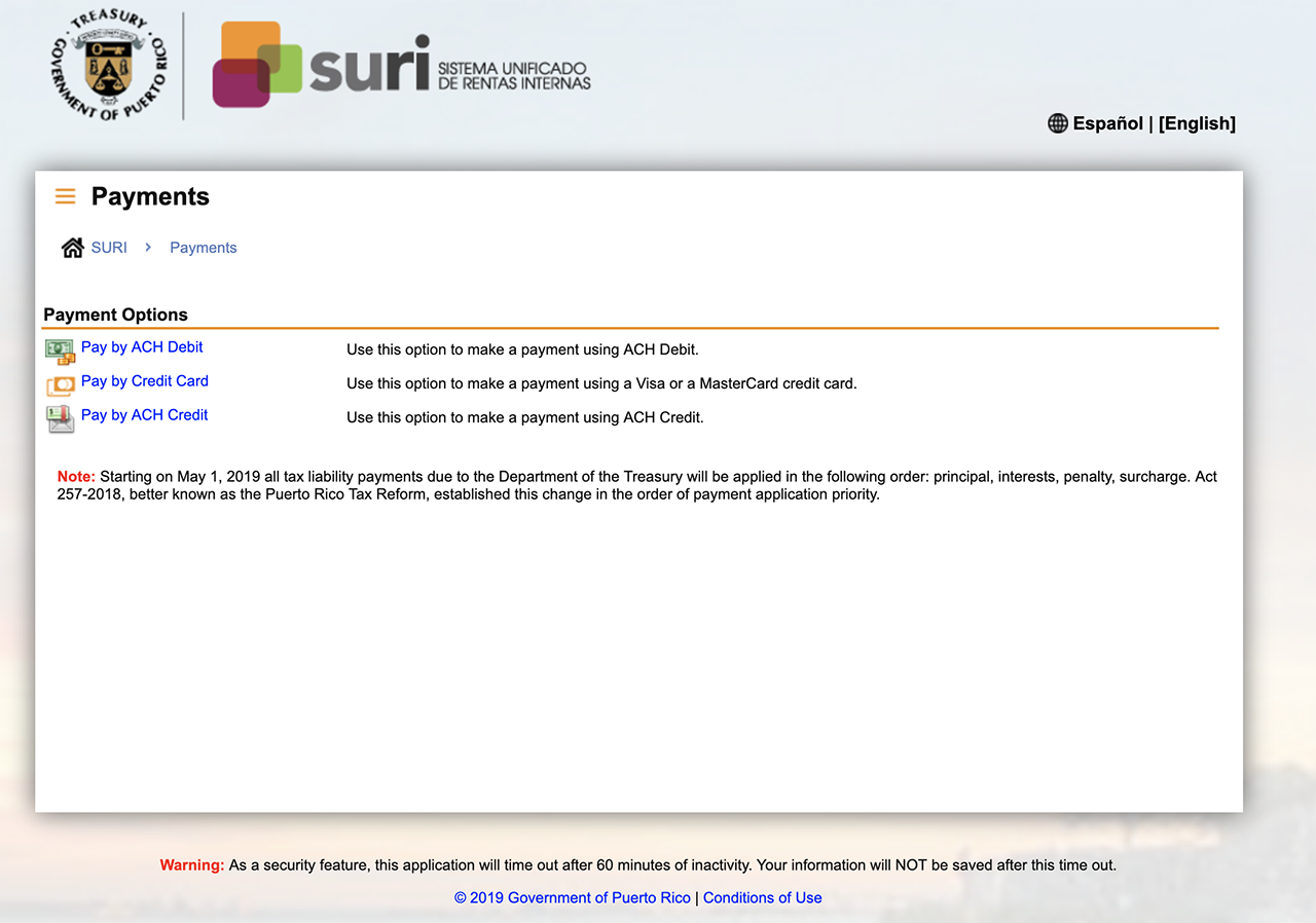 SURI Excise payment website screensot