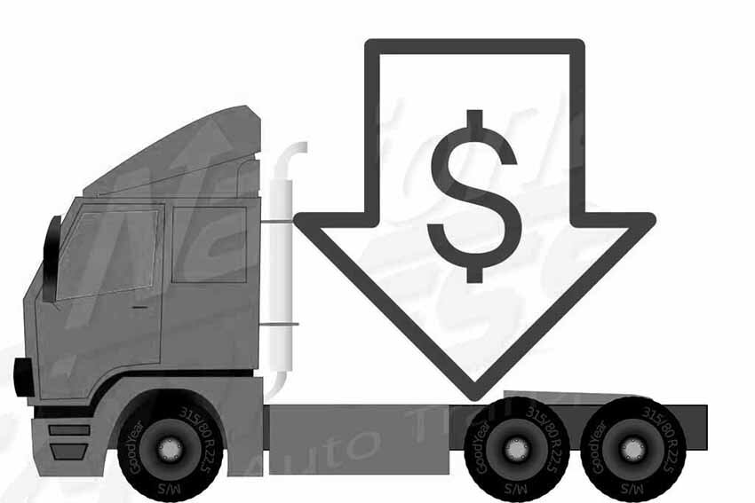 auto transport truck with green dollar sign indicating a low price - black and white