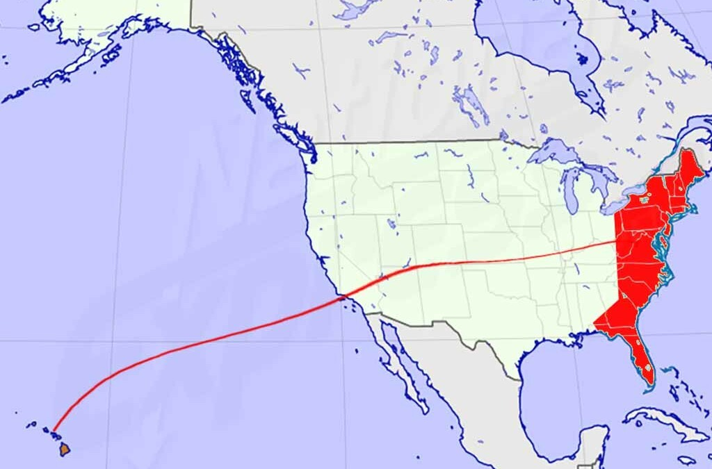 Map of Vehicle going from eastern U.S. to Hawaii