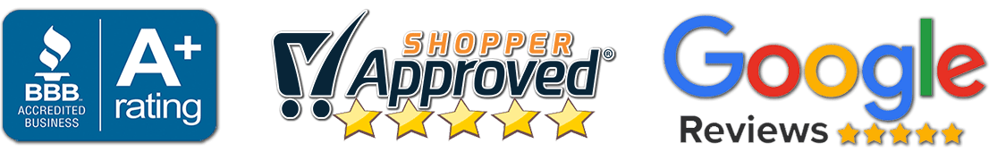 trust seals bbb, shopper approved, google reviews banner